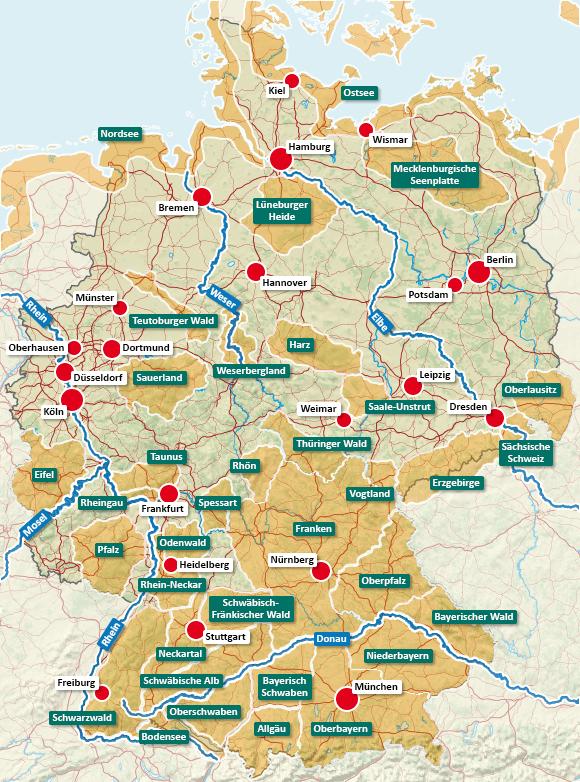Urlaubsregionen in Deutschland