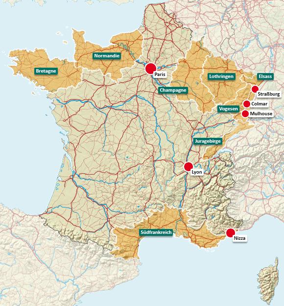 Urlaubsregionen in Frankreich