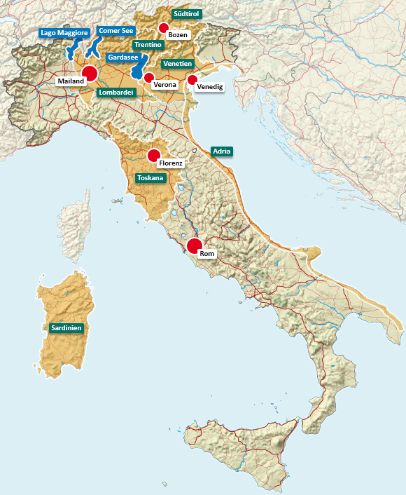 Urlaubsregionen in Italien