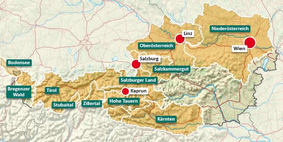 Urlaubsregionen in Österreich