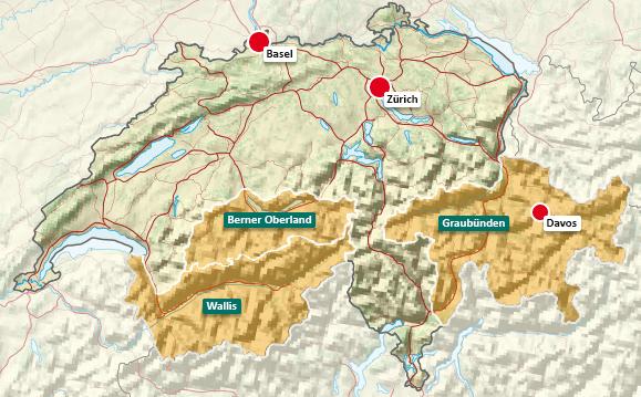Urlaubsregionen in der Schweiz