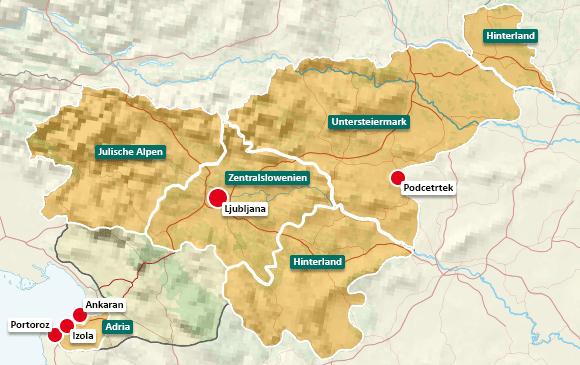 Urlaubsregionen in Slowenien